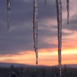 Icicles and golden skies.
