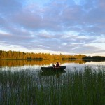 Fishing at our lake in Nedre Bäck.