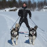 Fredrik with Titan and Gem, Easter 2012.