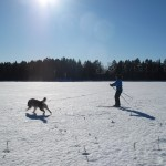 March 2012  - Thunder and Fredrik on the frozen snow crust.