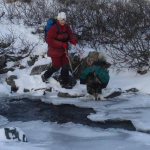 Crossing a river in winter is never easy.