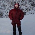 Marit, dressed for the Lapland winter and ready to hit the trail.