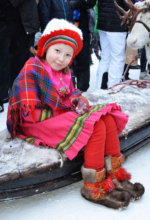 Sami girl in traditional clothing